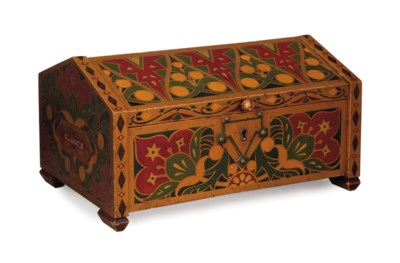 A RUSSIAN PAINTED WOOD BOX WIT