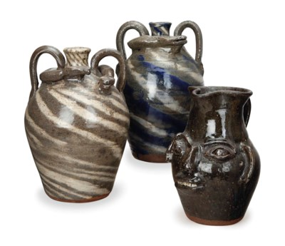 TWO AMERICAN GLAZED STONEWARE