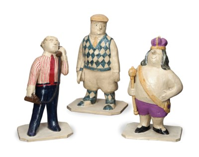 FIVE AMERICAN POTTERY FIGURES