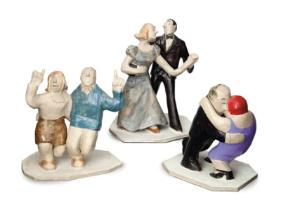 FIVE AMERICAN POTTERY FIGURE G