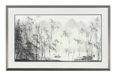 A CHINESE RIVER LANDSCAPE,