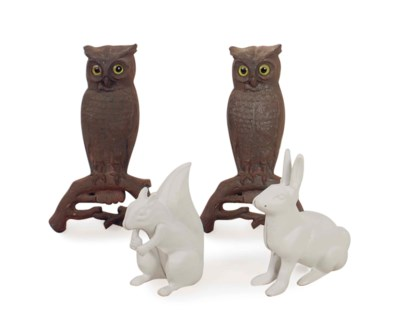 TWO PAIR OF CAST-IRON OWL-FORM
