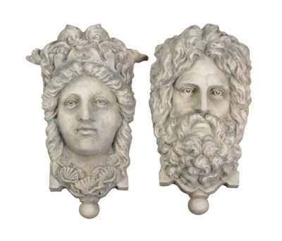TWO WHITE-PAINTED CAST-IRON MA