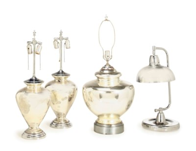 FOUR MERCURY GLASS TABLE LAMPS