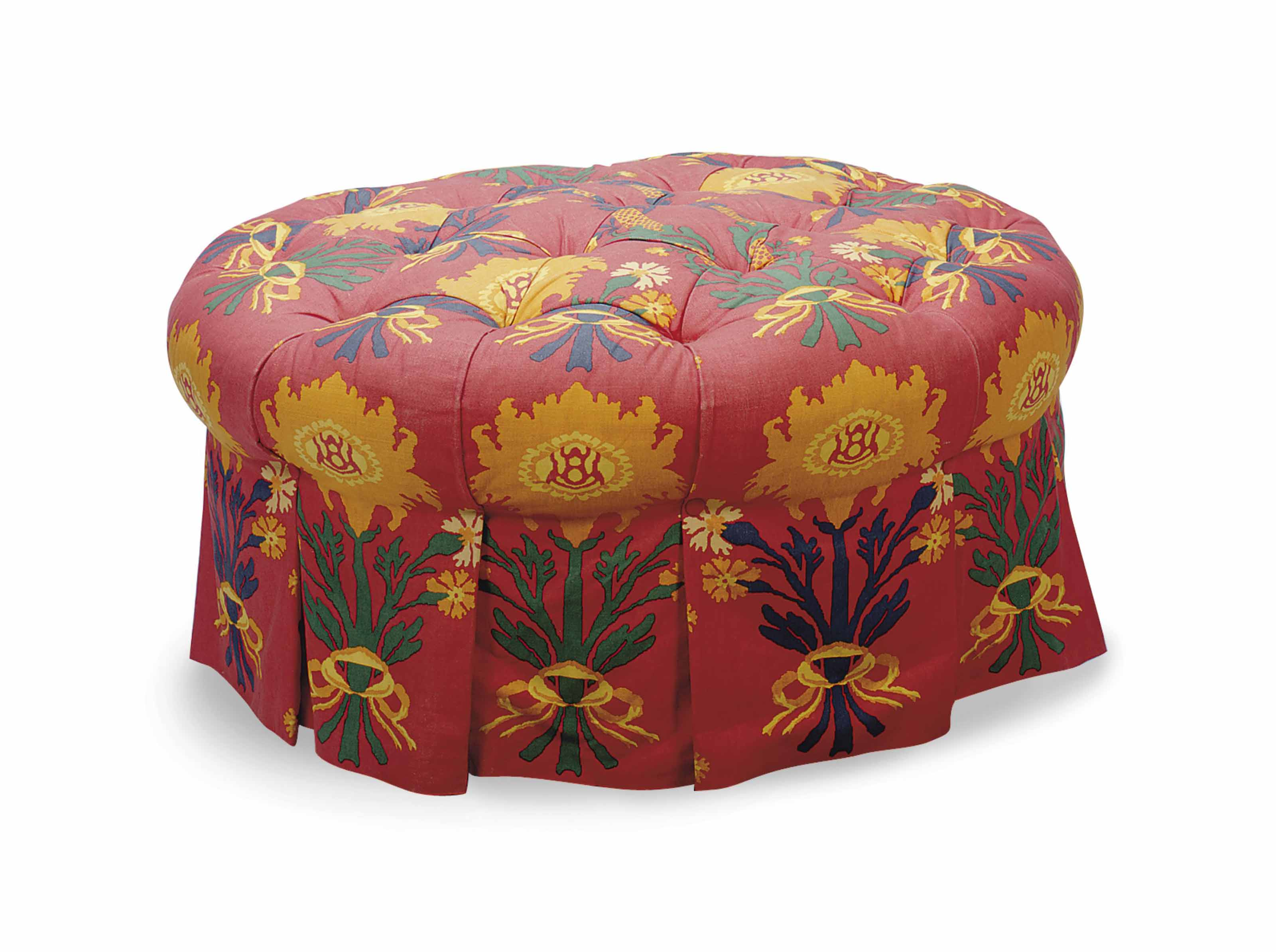 Pleasing A Red Ground Linen Upholstered Circular Ottoman Late 20Th Pabps2019 Chair Design Images Pabps2019Com