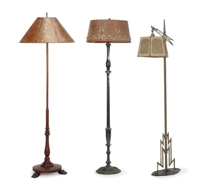 A GROUP OF THREE FLOOR LAMPS W