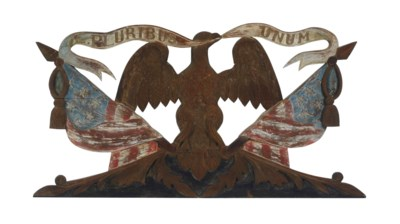 AN AMERICAN CARVED AND PAINTED