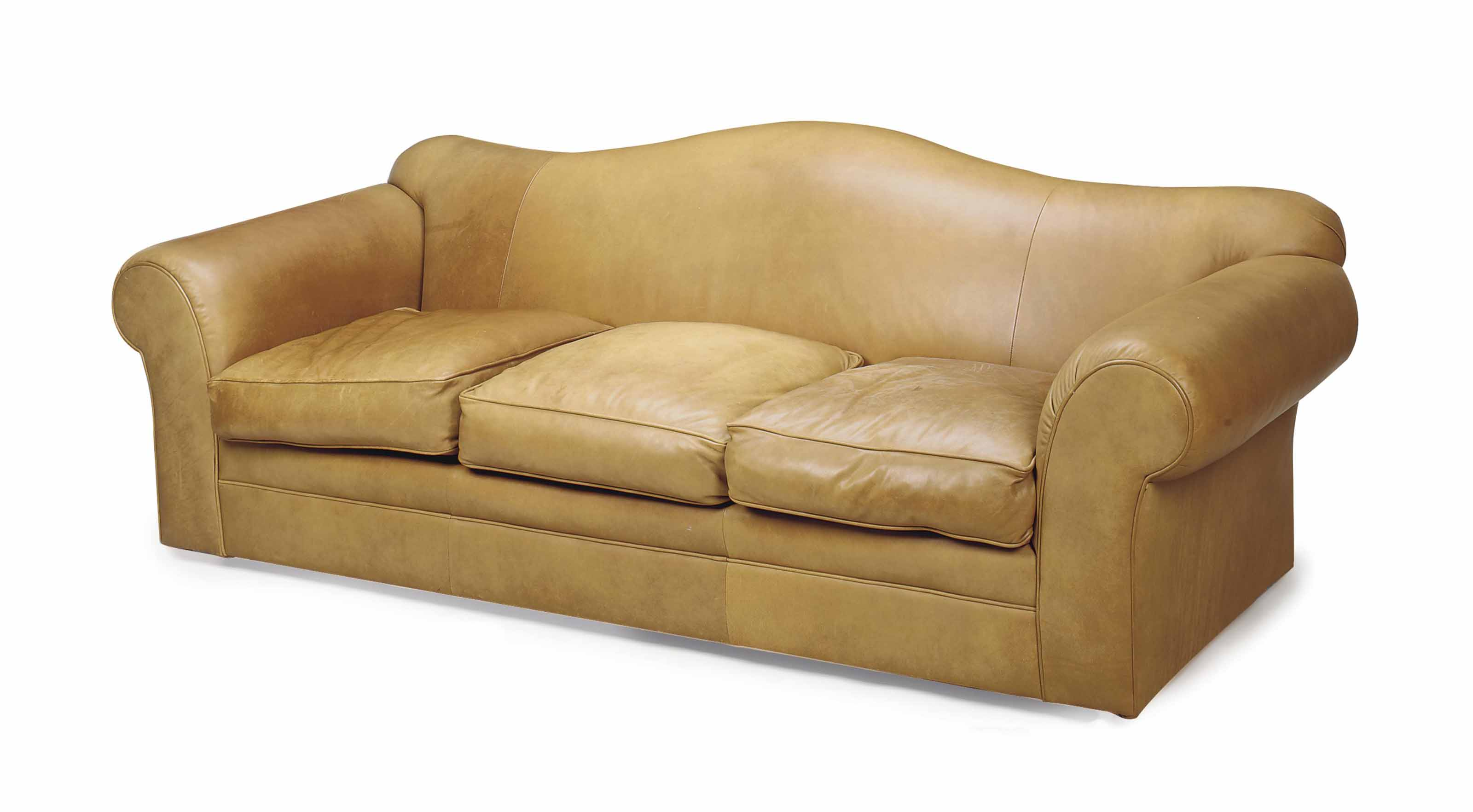 TWO LEATHER-UPHOLSTERED SOFAS,