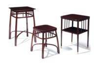 A GROUP OF THREE AUSTRIAN STAINED WOOD SIDE TABLES,