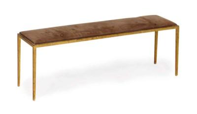 A GILT-METAL LONG BENCH,