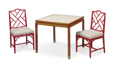 A PAIR OF RED-PAINTED FAUX BAM