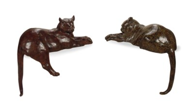 TWO AMERICAN PATINATED-BRONZE