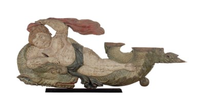 A POLYCHROME-PAINTED PUTTO AND