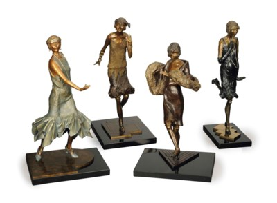 FOUR AMERICAN PATINATED, GILT