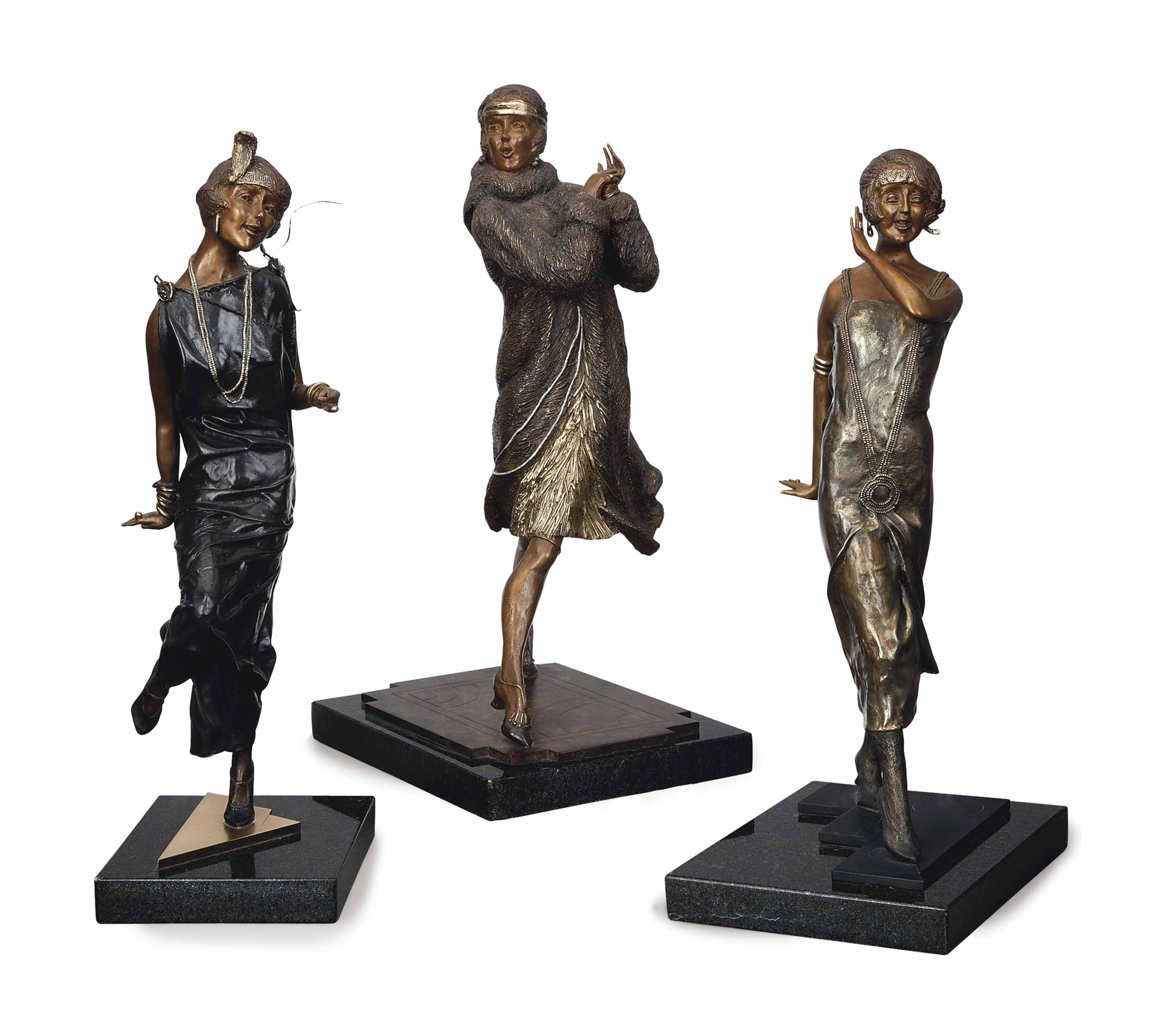 THREE AMERICAN GILT AND PATINATED-BRONZE FIGURES OF FLAPPERS,