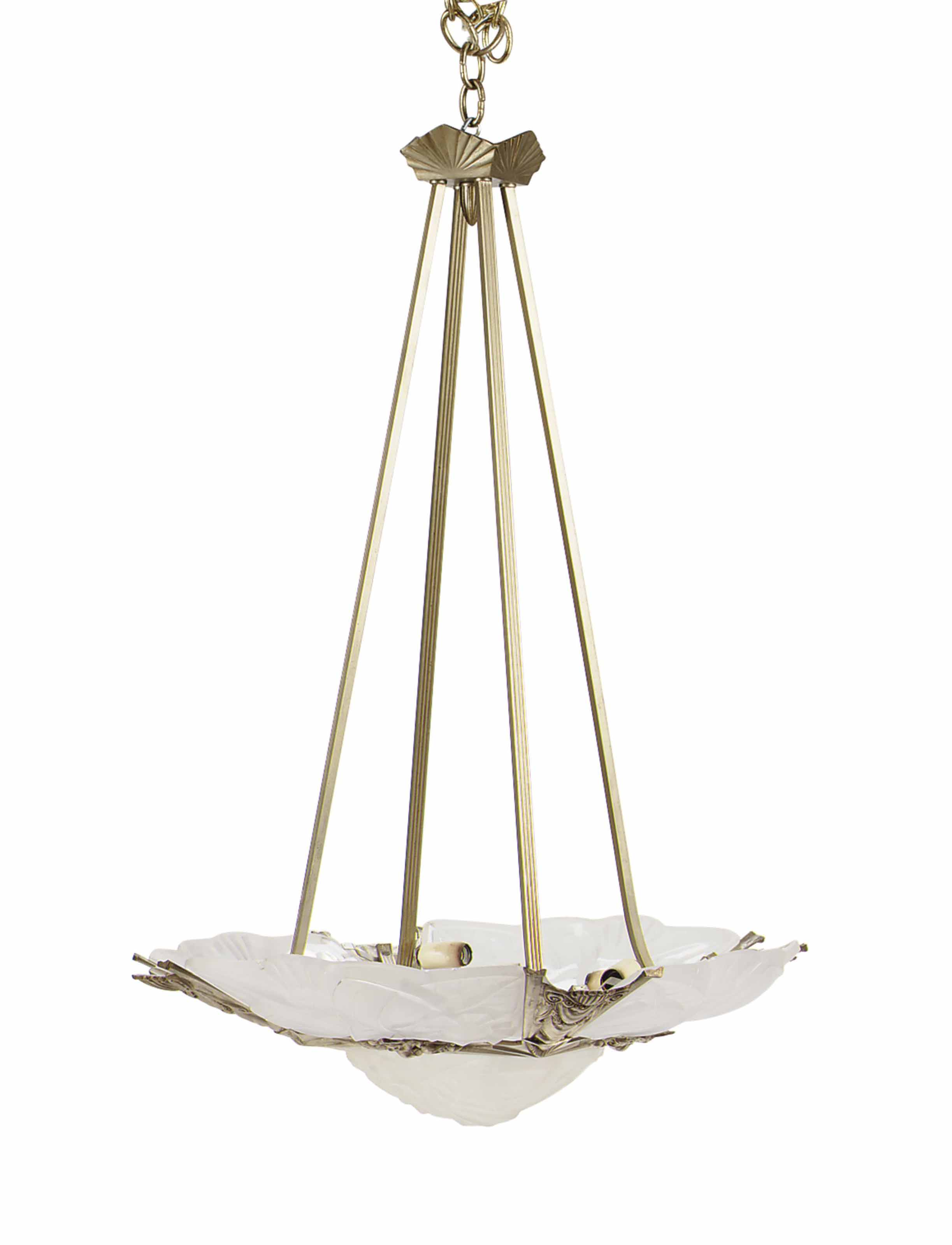 A FRENCH ART DECO WHITE METAL AND FROSTED-GLASS SIX-LIGHT CHANDELIER,