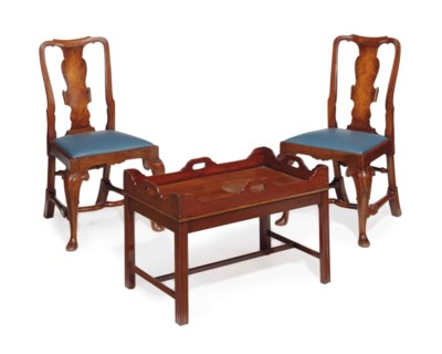 A PAIR OF WALNUT SIDE CHAIRS A