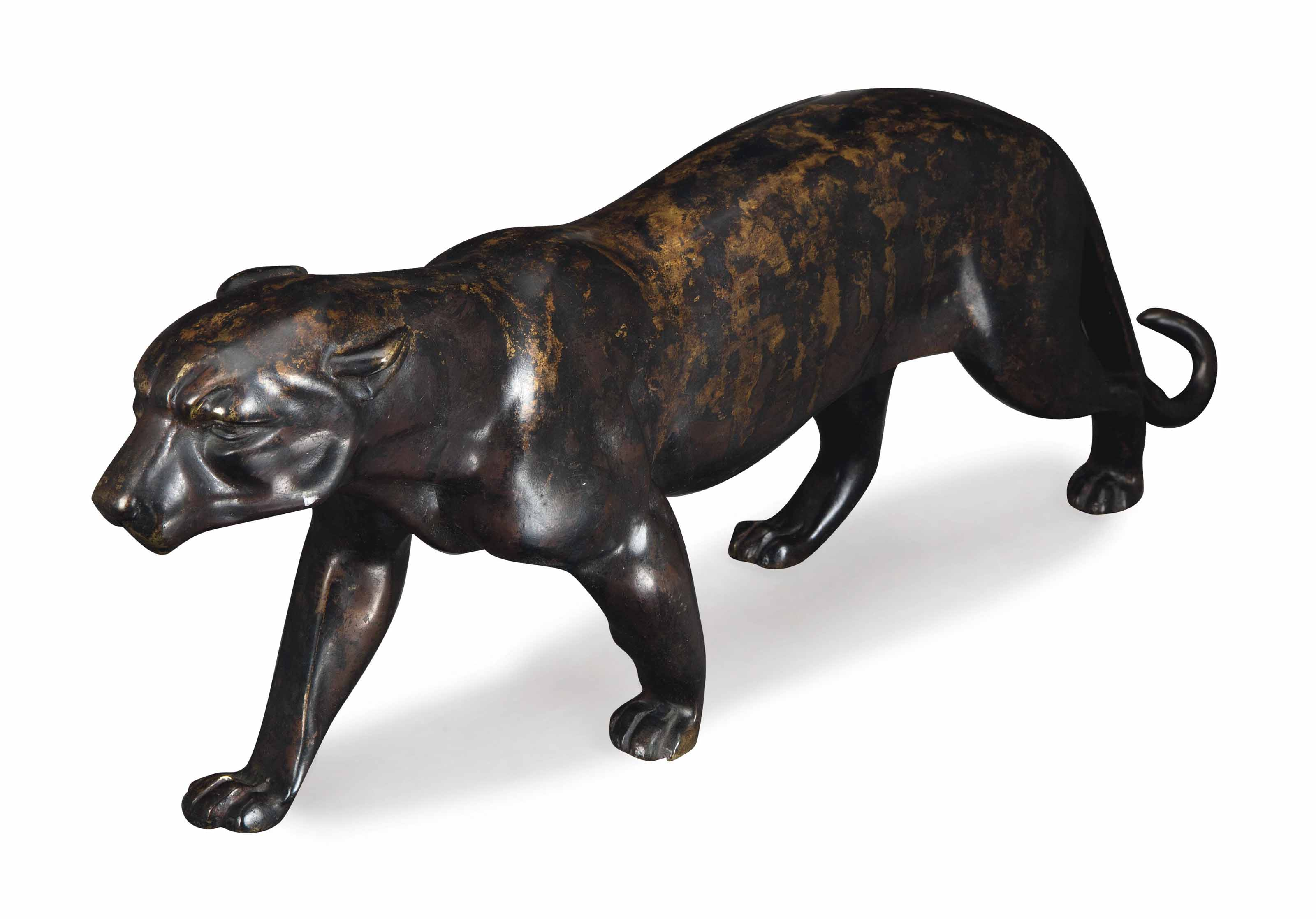 A PATINATED-BRONZE MODEL OF A STRIDING PANTHER,