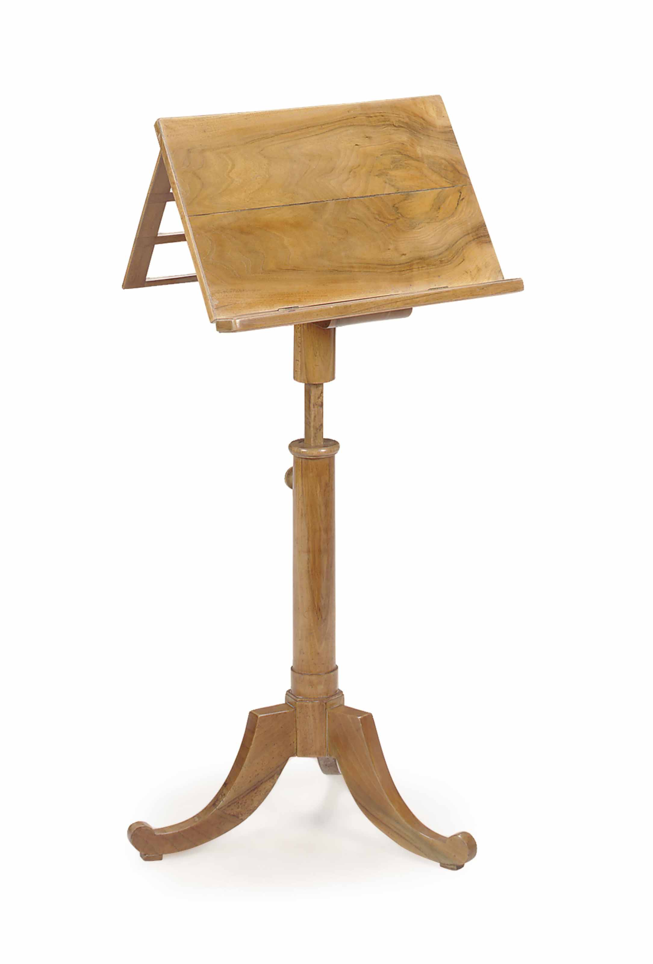 A BIEDERMEIER WALNUT ARTICULATED MUSIC STAND,