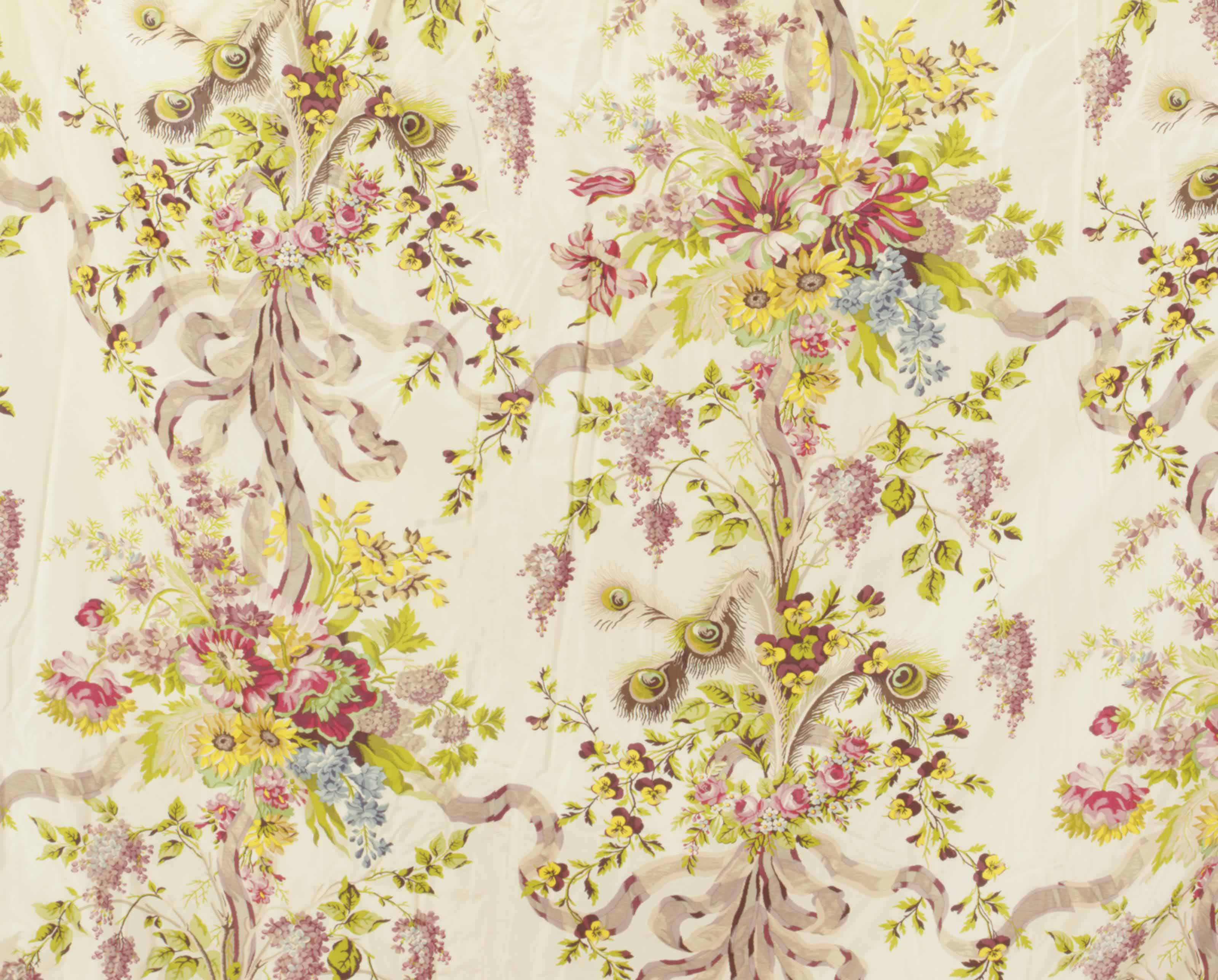 A SET OF FLORAL SILK DRAPERIES,