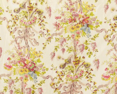 A SET OF FLORAL SILK DRAPERIES