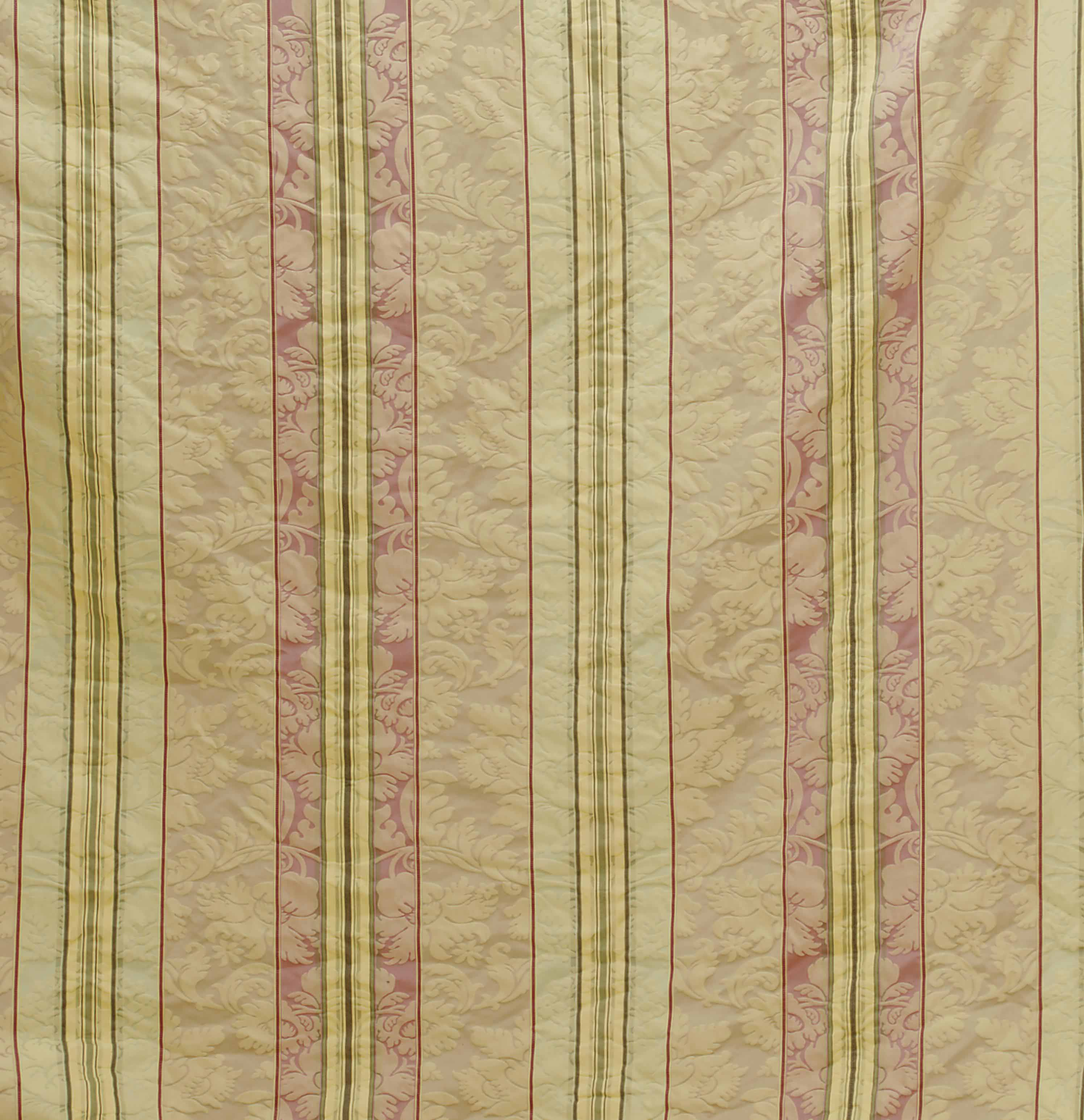 TWO STRIPED SILK DAMASK CURTAIN PANELS,