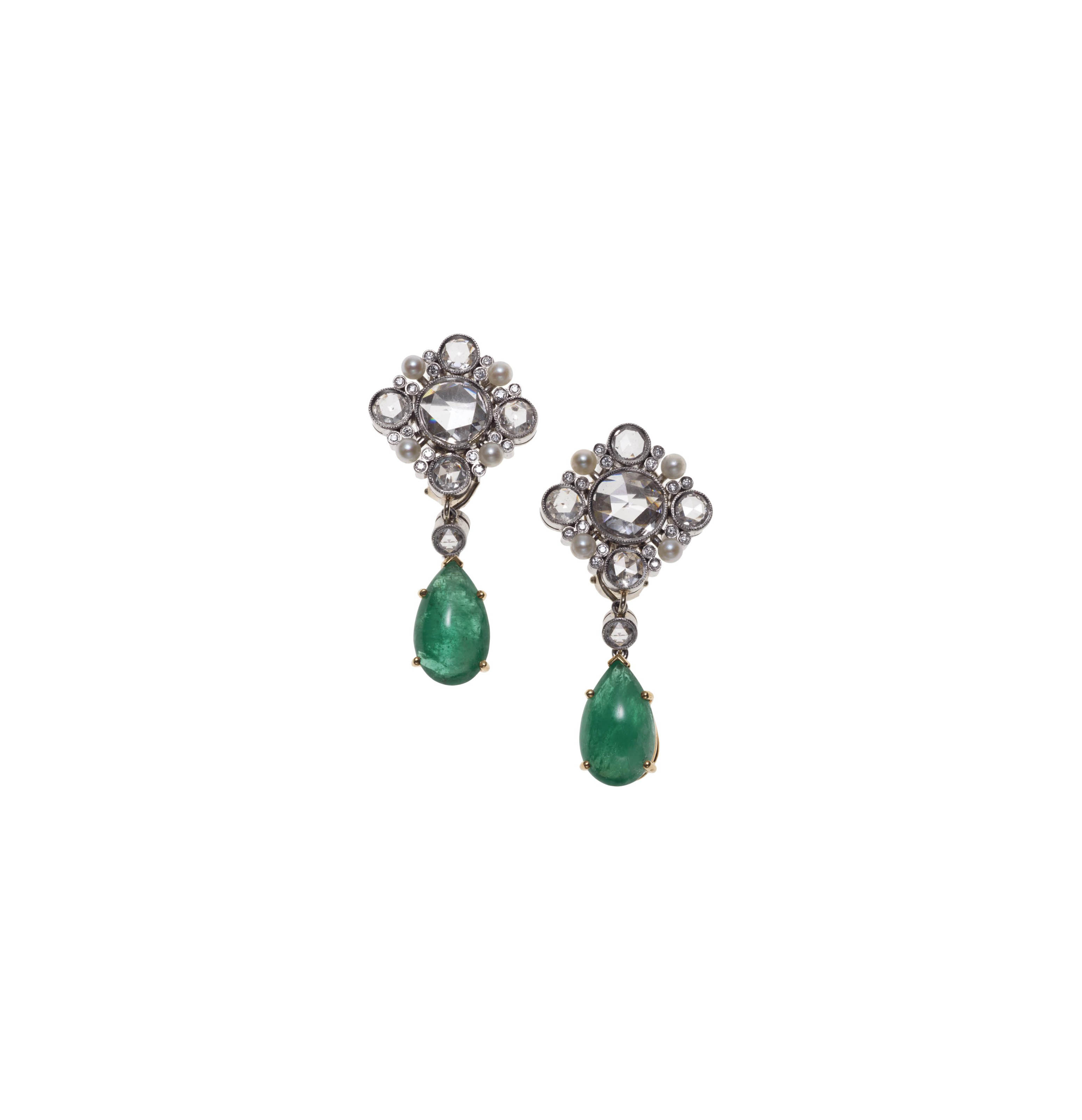 A PAIR OF EMERALD, DIAMOND AND SEED PEARL EAR PENDANTS, BY JULIUS COHEN