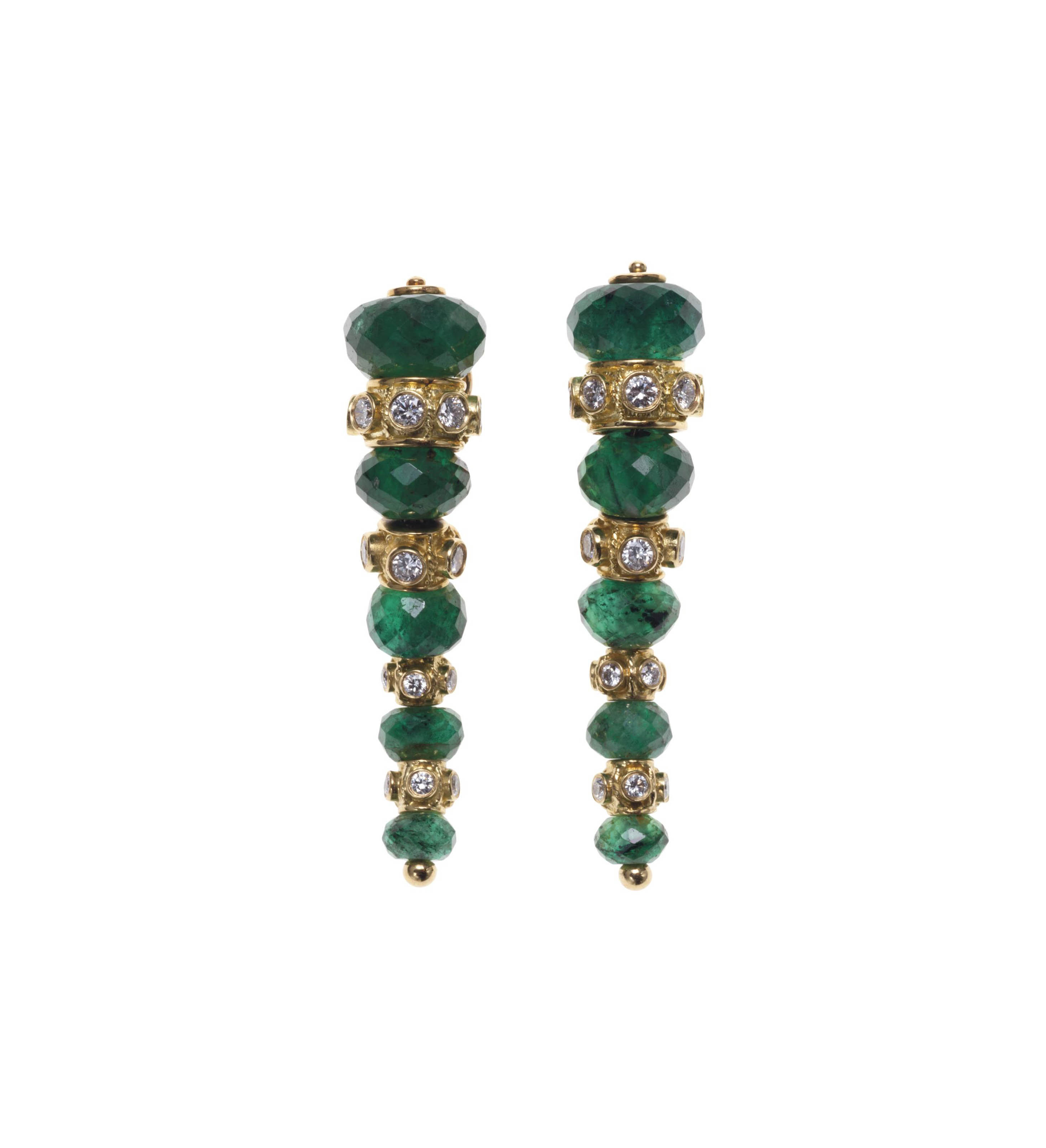 A PAIR OF EMERALD AND DIAMOND EAR PENDANTS, BY JULIUS COHEN