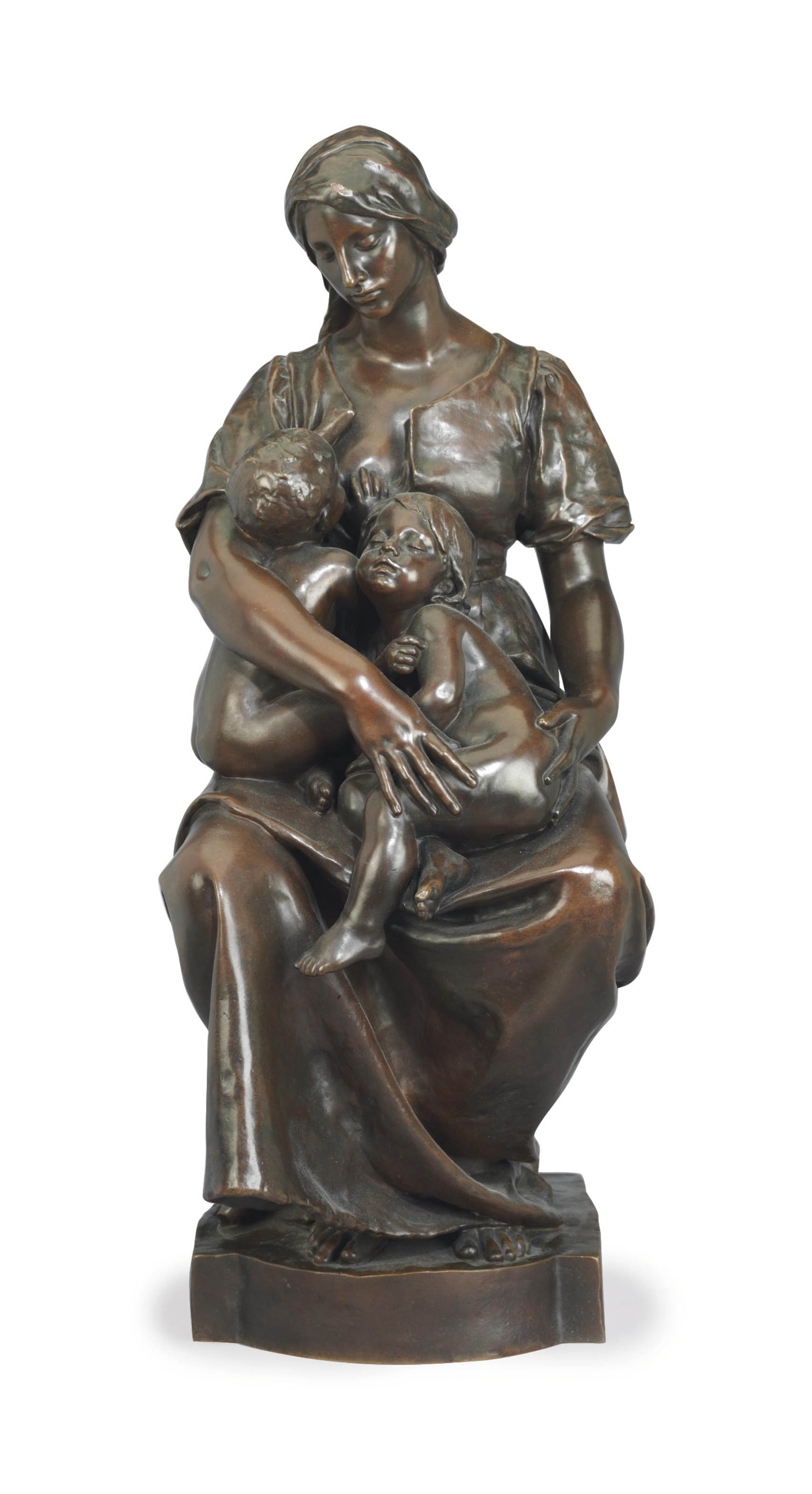 A FRENCH PATINATED-BRONZE FIGURAL GROUP ENTITLED 'CHARITE',