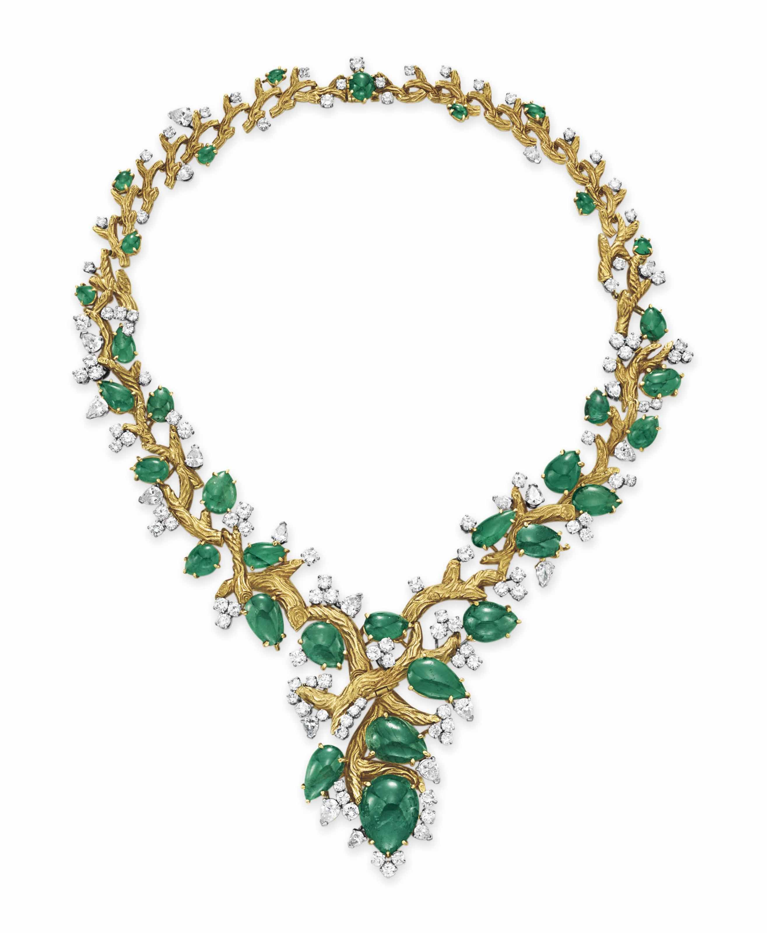 AN EMERALD, DIAMOND AND GOLD NECKLACE | Christie's