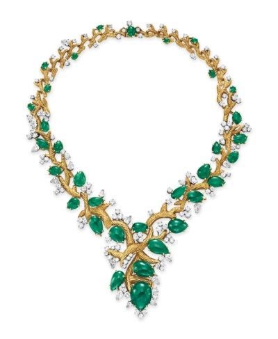 AN EMERALD, DIAMOND AND GOLD N