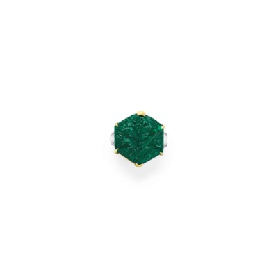 A CARVED EMERALD AND DIAMOND R