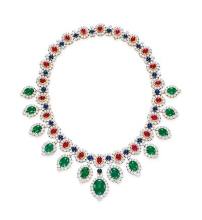 A DIAMOND AND MULTI-GEM NECKLA