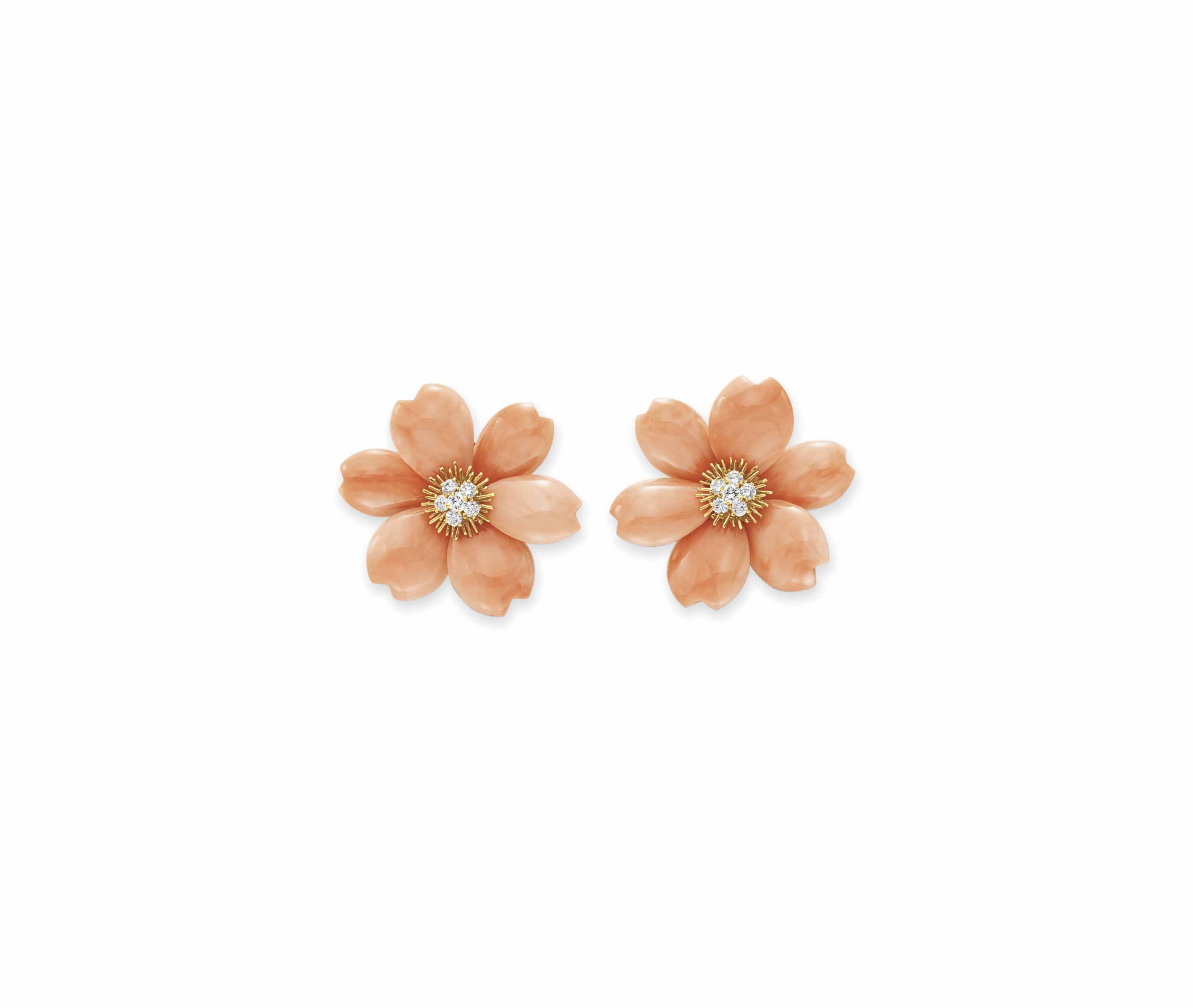a pair of coral and diamond rose de noel ear clips by. Black Bedroom Furniture Sets. Home Design Ideas