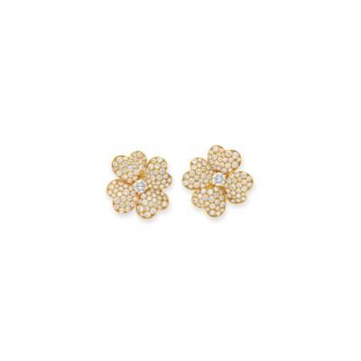 A SET OF DIAMOND EAR CLIPS, BY
