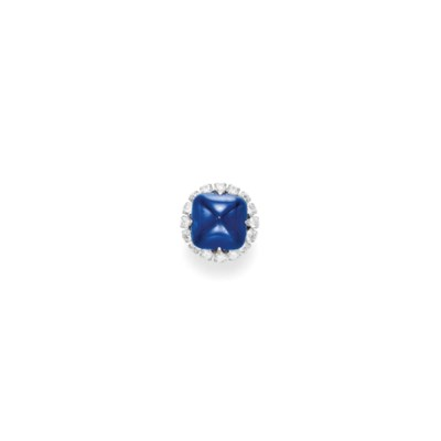 A SAPPHIRE AND DIAMOND RING, B