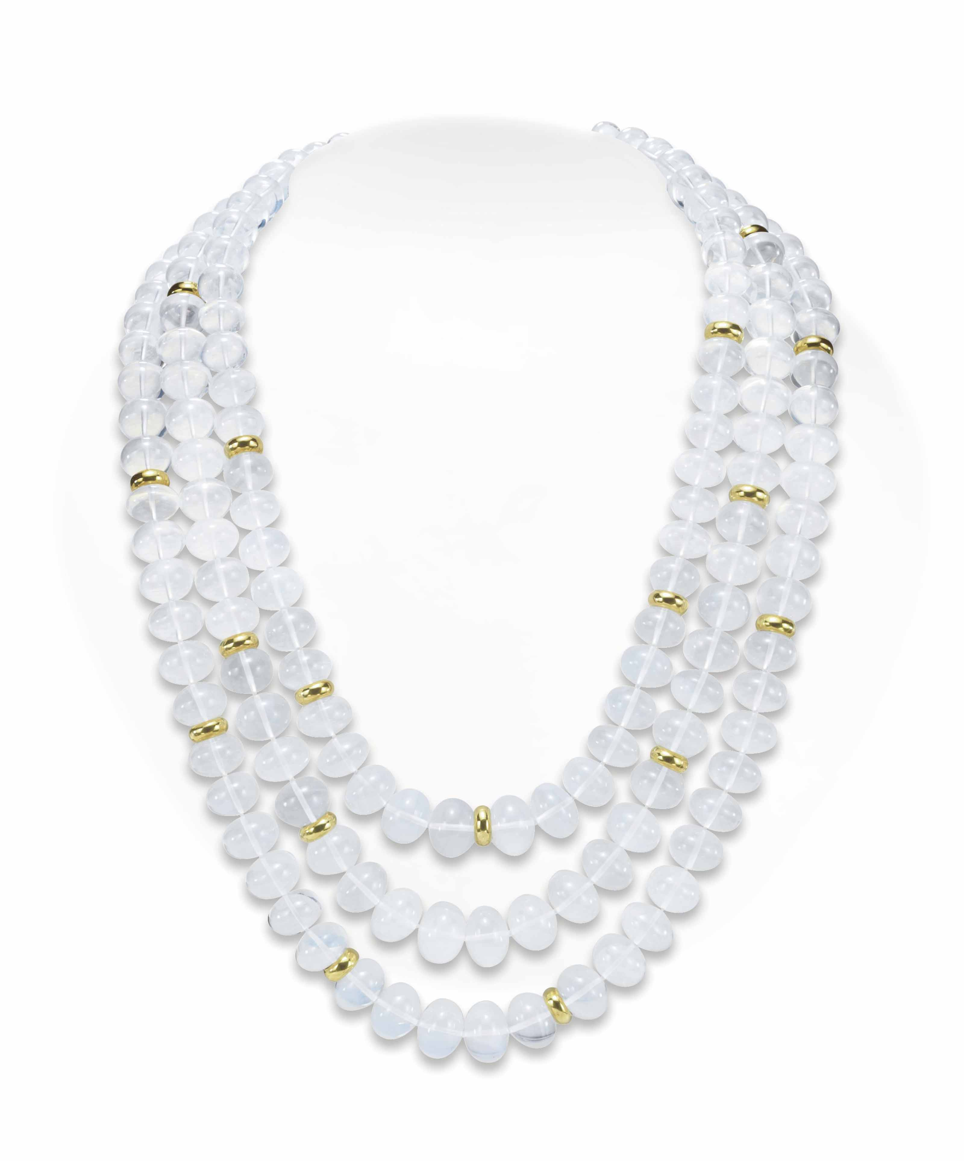 A MOON QUARTZ BEAD AND GOLD NECKLACE, BY HENRY DUNAY
