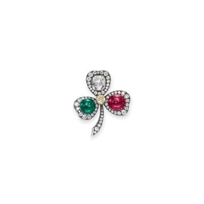 AN ANTIQUE DIAMOND, RUBY AND E