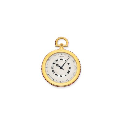 A RUBY AND GOLD POCKET WATCH,