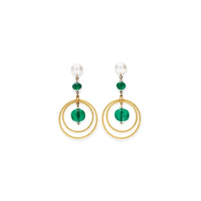 A PAIR OF EMERALD, NATURAL PEA