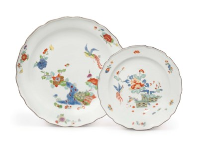TWO MEISSEN PORCELAIN LOBED DI