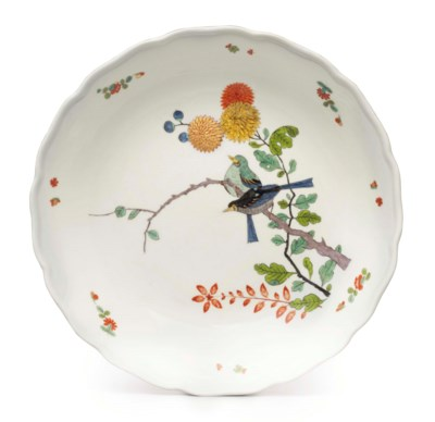 A MEISSEN PORCELAIN SHAPED SHA