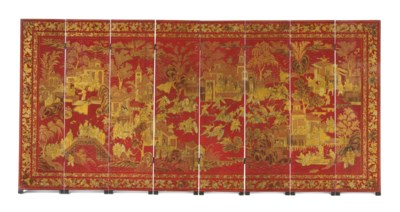 A CHINESE EXPORT RED AND GILT