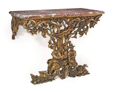 AN ENGLISH GILTWOOD CONSOLE TA