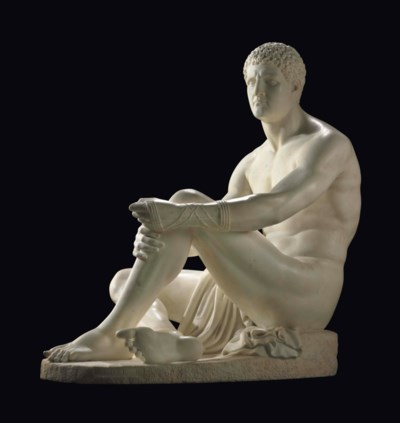 AN ENGLISH MARBLE FIGURE OF A