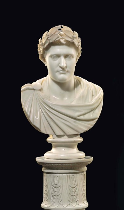 A CONTINENTAL MARBLE BUST OF N