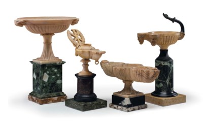 A GROUP OF FOUR SIENA MARBLE,