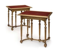 A PAIR OF FRENCH ORMOLU AND ROUGE MARBLE CENTER TABLES