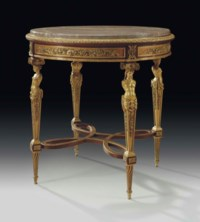 A FINE FRENCH ORMOLU-MOUNTED MAHOGANY AND SYCAMORE GUERIDON