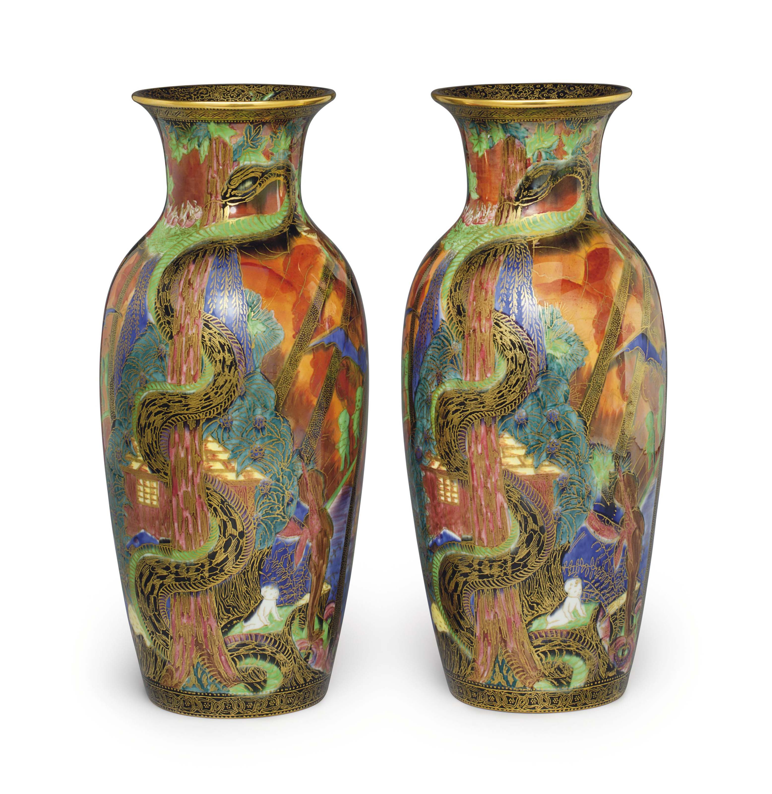 A PAIR OF WEDGWOOD PORCELAIN FLAME FAIRLYLAND LUSTRE VASES